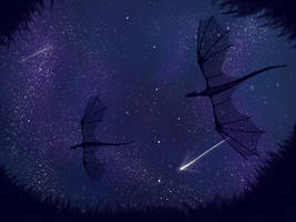 dragons in the night sky by Emthedragoneye