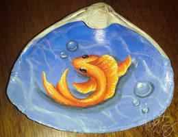 Orange Fish Painted Seashell