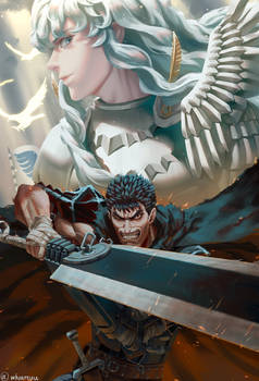 The hawk of light and black swordsman