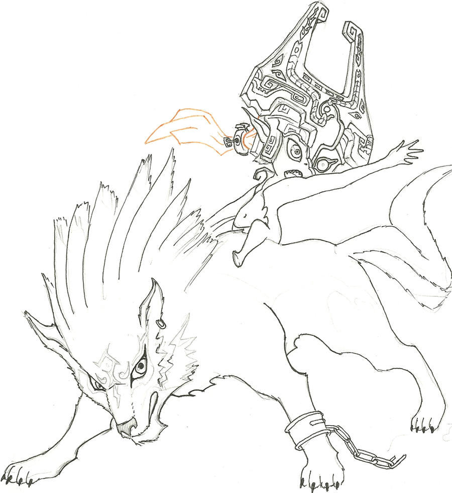 Wolf link and midna lineart by cap7ain tezz vii on deviantart for Midna coloring pages
