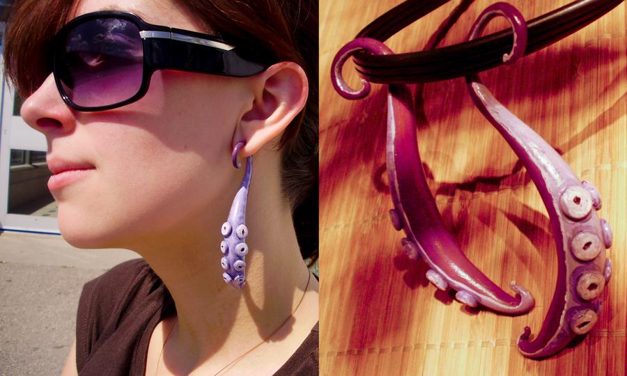 Octopus Tentacle Earrings by alexredford