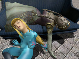 Samus and Zelda sleeping together 4 by Hypnowalker