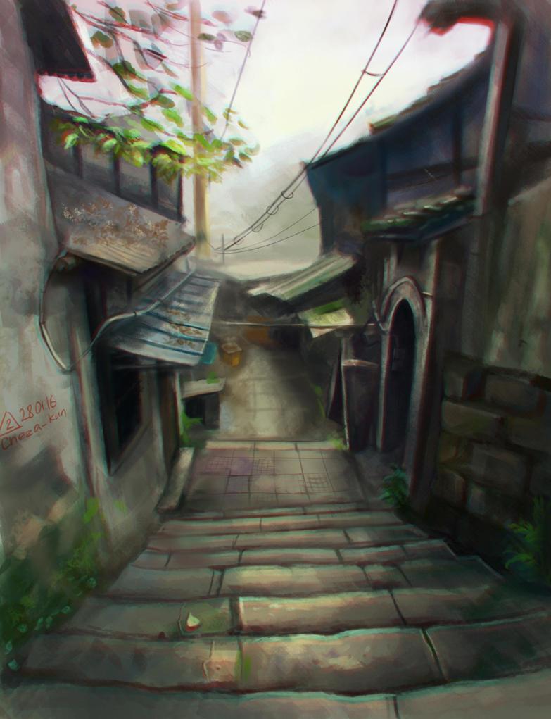 Village scape by Cheza-Kun