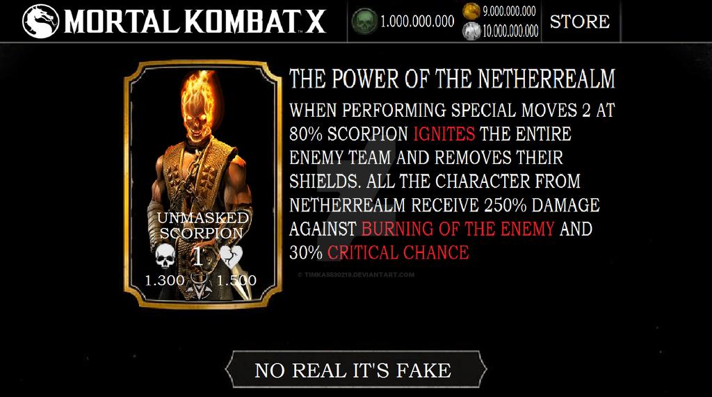 Mortal kombat x mobile unmasked scorpion (fake) by timka5530219 on