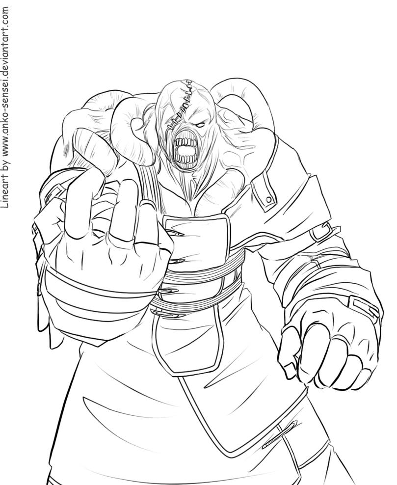 Resident Evil Nemesis Coloring Page Sketch