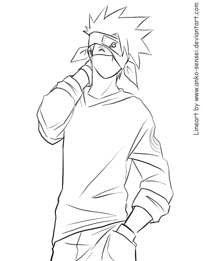 Kakashi Lineart : Kakashi sensei lineart by anko on deviantart
