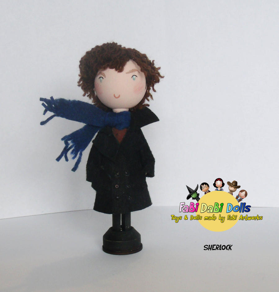 Sherlock peg doll by tombirrellart