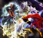 Commission: Storm vs Thor by alexiela-art