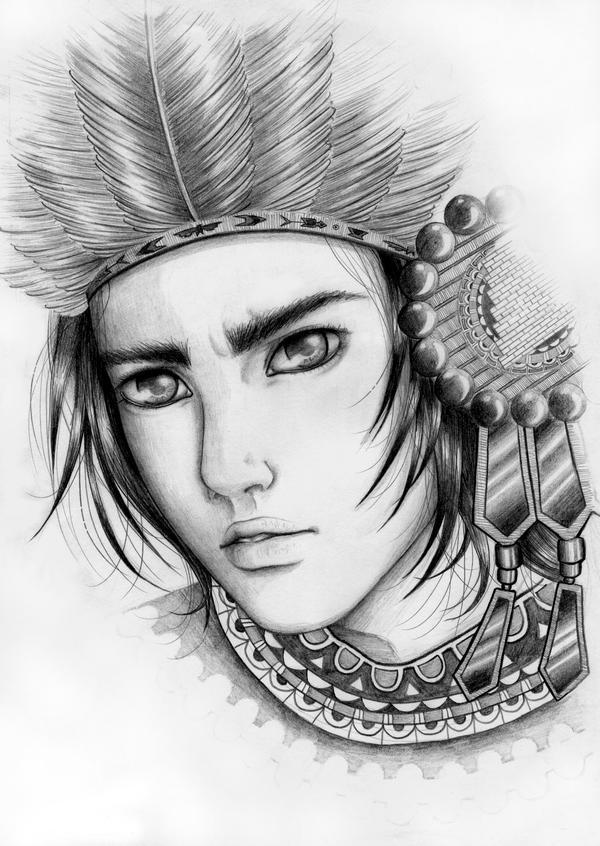 Aztec king by alexielart on DeviantArt  Aztec Pencil Drawings