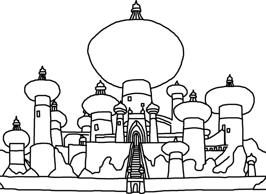 alladin castles coloring pages | Disney Castle Silhouette Svg Sketch Coloring Page