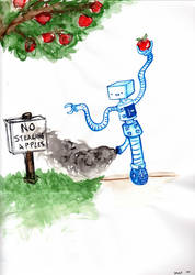 Robots Love Apples by Kokeshi-Doll