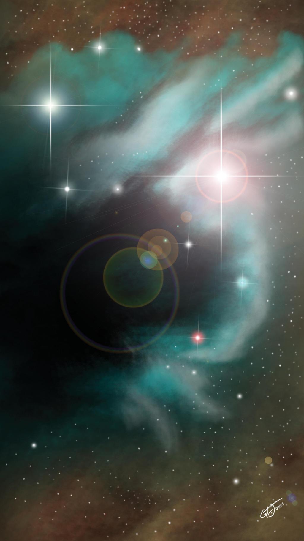 blue nebula in the brown cloud RGB