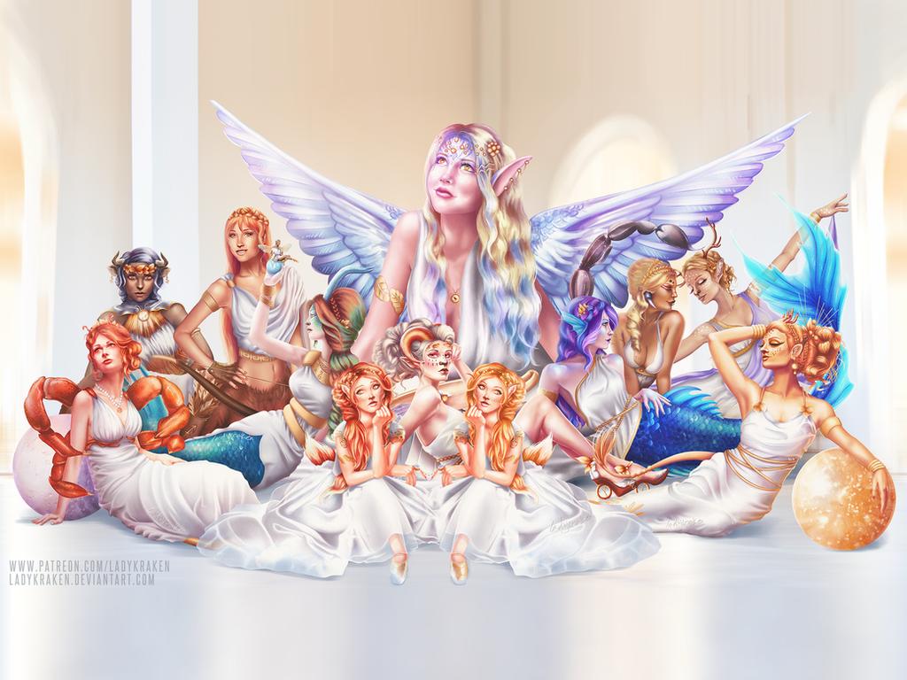 12 Zodiac Ladies - Wallpapers by LadyKraken