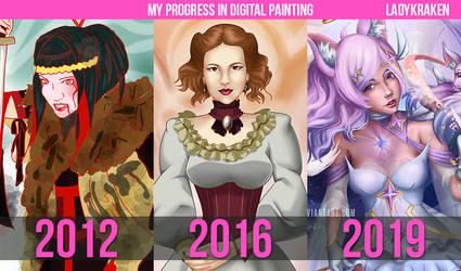 My progress in digital painting by LadyKraken