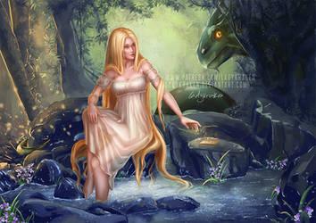 Xana y Cuelebre Asturian Mythology
