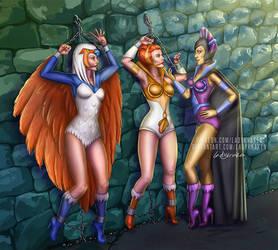 Teela, Sorceress, Evil-lyn -In the Castle Dungeons by LadyKraken
