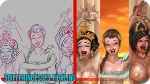 SciFi Princesses Tickling-Painting Video Timelapse