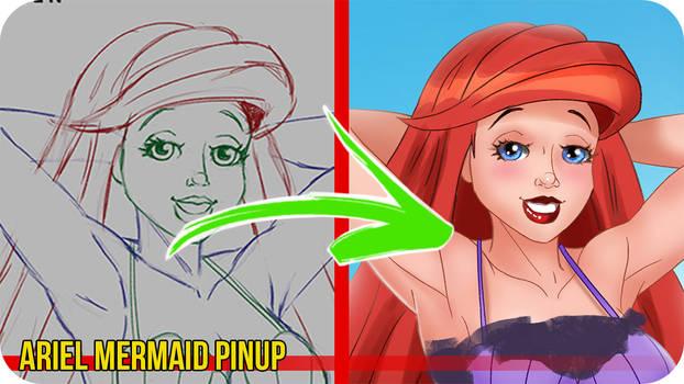Ariel Mermaid PinUp -Painting Video Timelapse
