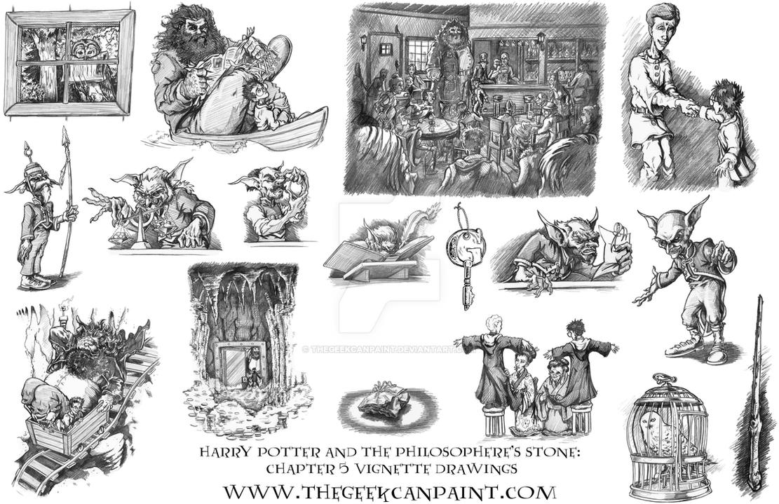 Harry Potter Book 1 Chapter 5 Vignette Drawings By TheGeekCanPaint
