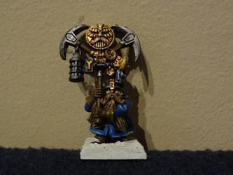 Dwarf mining regiment standard bearer. by Unhodin