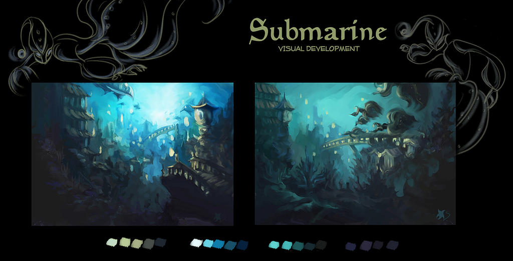 Submarine visual development by Stella-di-A