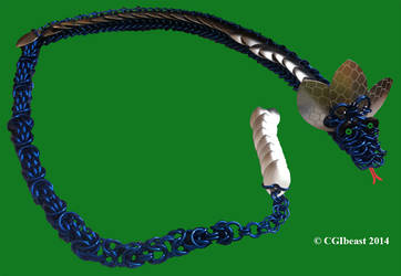Large Blue And Silver Scaled Chainmaille Dragon