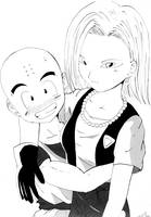 Kuririn and 18 by FlavioSY