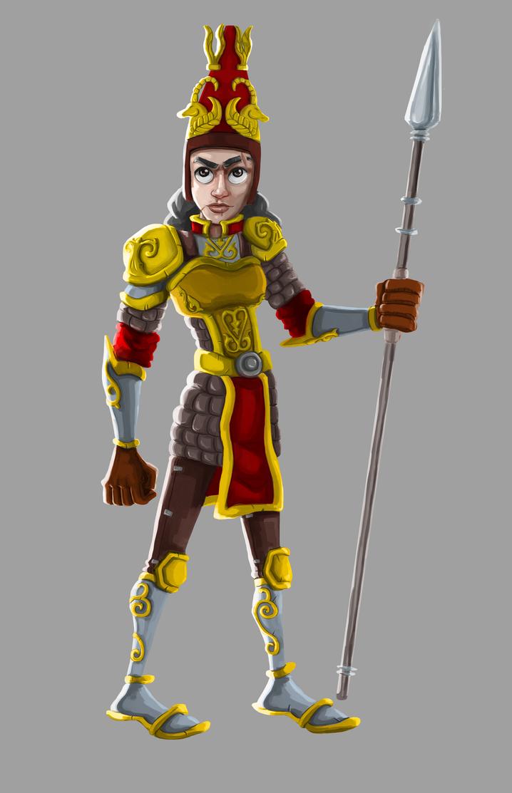 Concept art of Kazakh Warrior by Zhemka