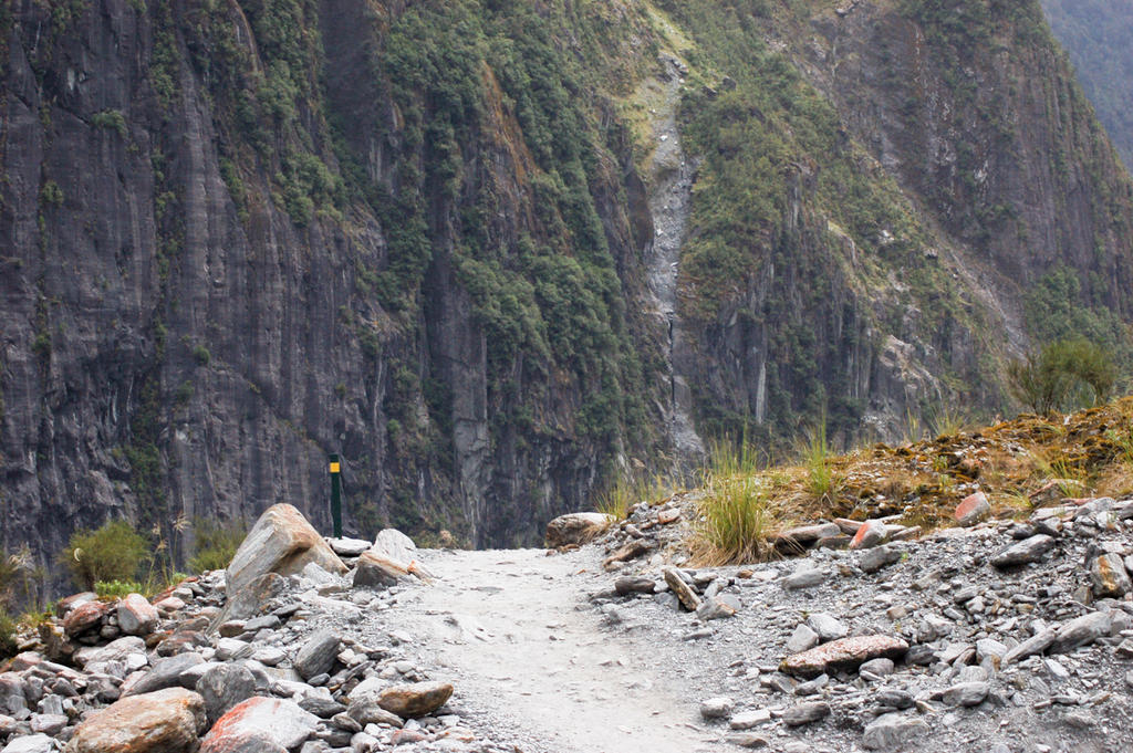 NZ Pathway and sheer cliffs up by Chunga-Stock