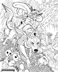 Okami Mononoke (Lines) by Javadoodle