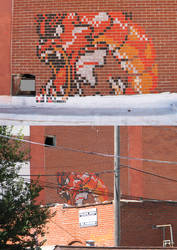 Rooftop Gyarados Chalk by TastyCarrots