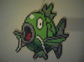 Green Magikarp perler by Birdseednerd