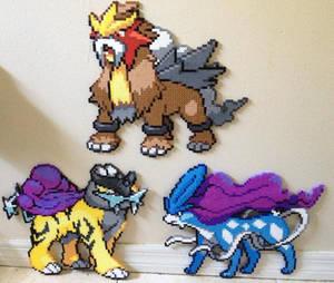 Legendary Dogs Suicune, Raikou, and Entei perler by Birdseednerd