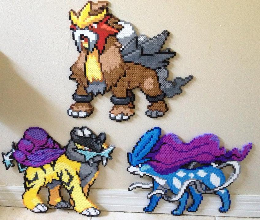 Legendary Dogs Suicune, Raikou, and Entei perler by ...