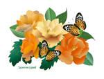 Golden Roses and Butterflies