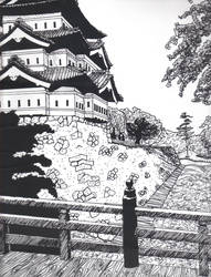 Japanese Castle Perspective and texture Drawing by dream-chylde