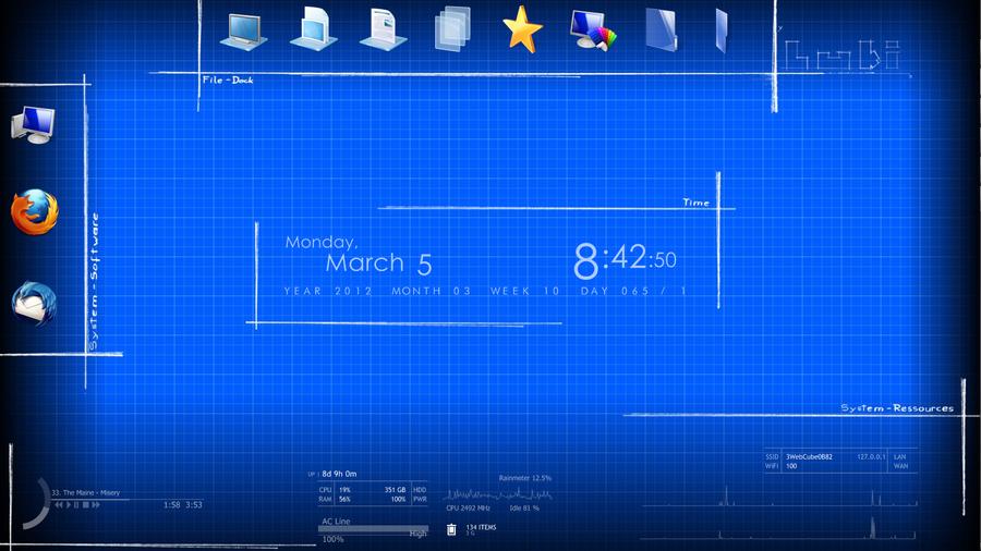 Blueprint desktop with rainmeter skins by luki live on deviantart blueprint desktop with rainmeter skins by luki live malvernweather Gallery