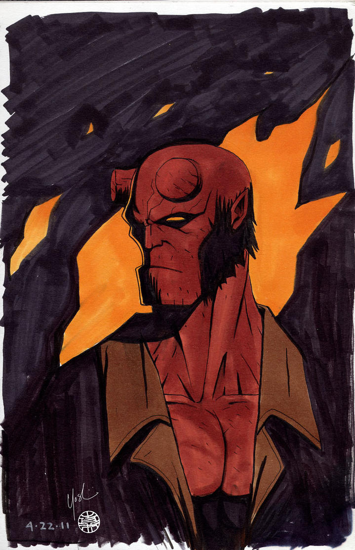 Hellboy Marker Sketch by Protokitty