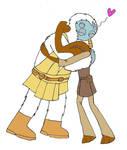 Roron corobb and foul modama shares a hug