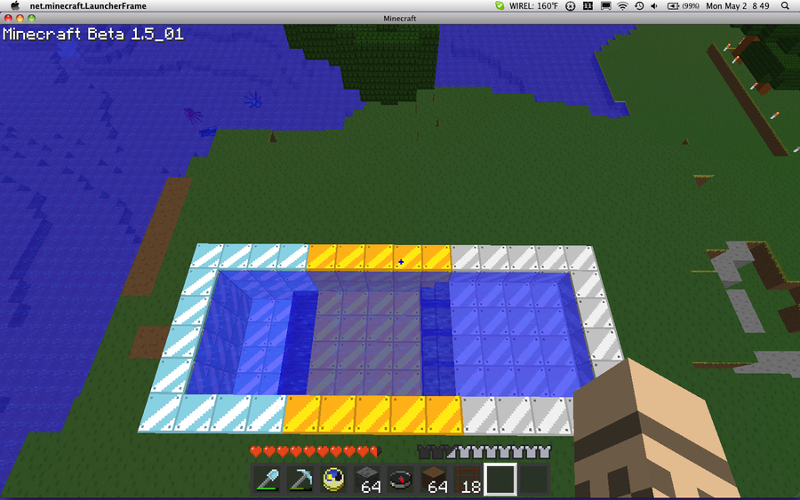 how to make a pool in minecraft