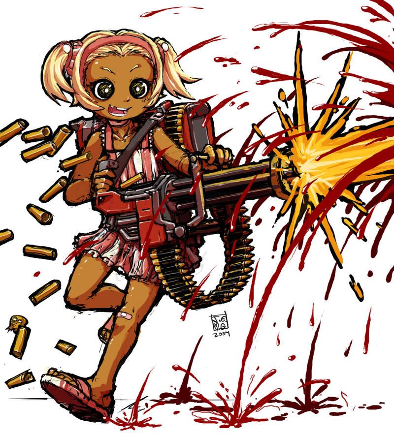 minigun girl by sachsen on deviantart