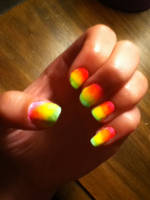 Rainbow summer ombre nails by Kitten2222