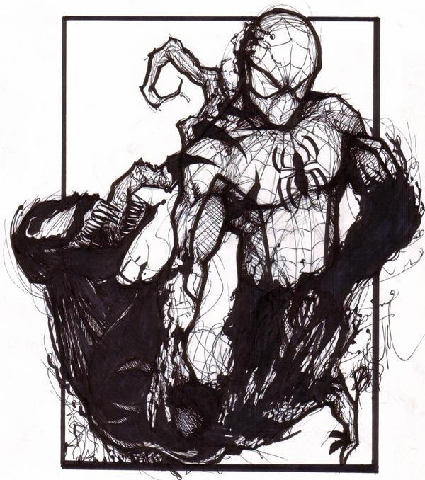 Venom Spiderman Drawing Spiderman VS Ve...