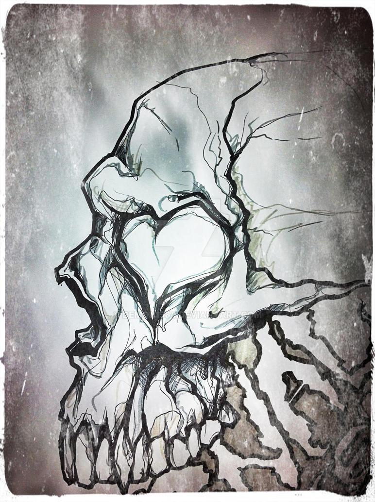 Hearts Skull By Demon1984