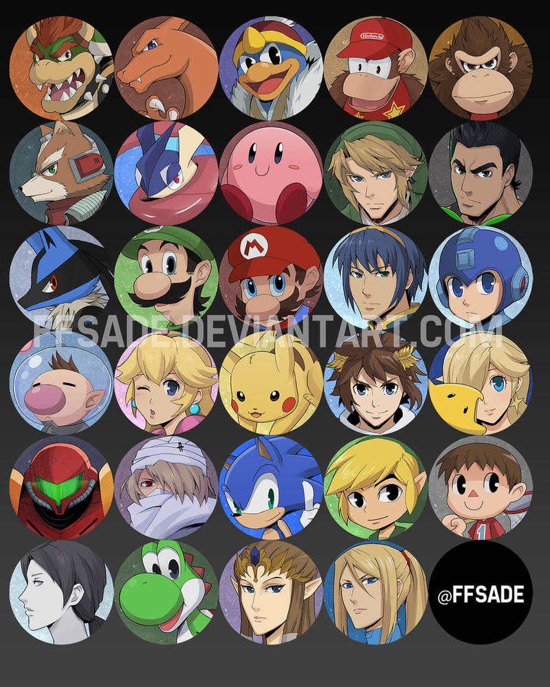 Smash 4 - Portrait Buttons by ffSade