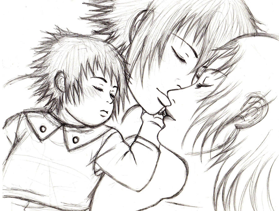 Mother And Daughter Snuggling Coloring Pages