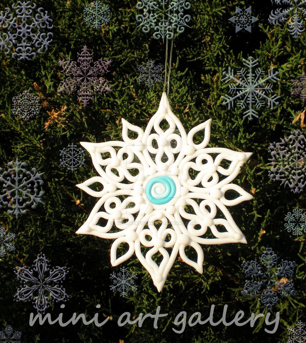 Snowflake Christmas Ornament Handmade Polymer Clay By Artsistafotini  Snowflake Christmas Ornament Handmade Polymer Clay By Artsistafotini