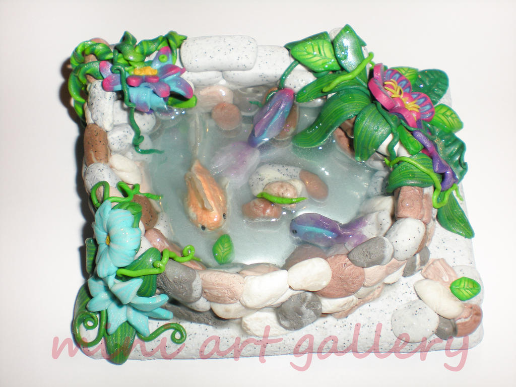 Fish pond handmade lake polymer clay resin by for Clay fish pond