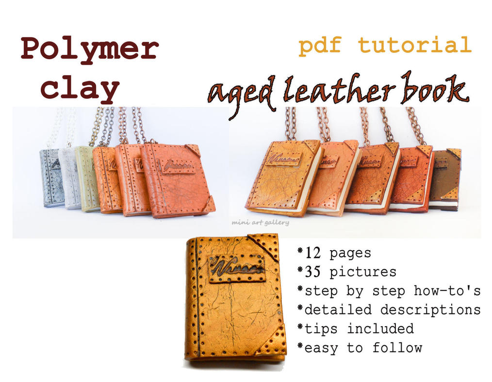 Leather Book Cover Photo Tutorial : Polymer clay pdf tutorial aged leather book by