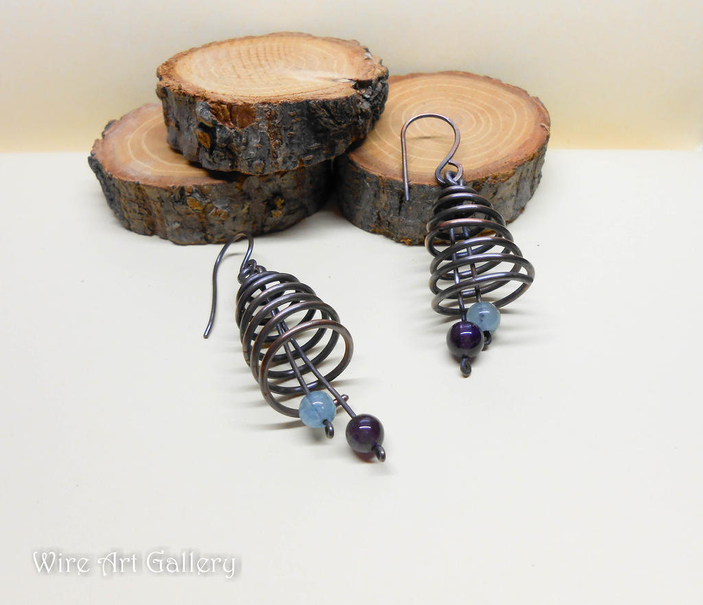 Spiral cone wire earrings antiqued copper wire by artSistaFotini on ...